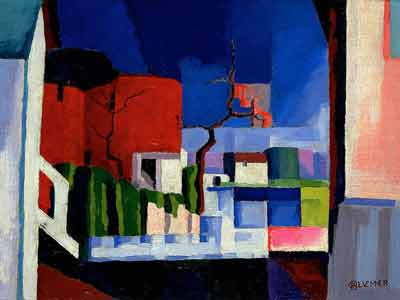 Oscar Bluemner, Old Canal, Red And Blue Fine Art Reproduction Oil Painting