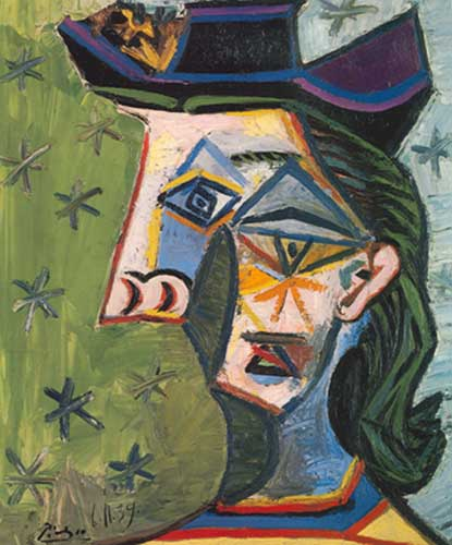 Pablo Picasso, Head of a Woman and Stars Fine Art Reproduction Oil Painting