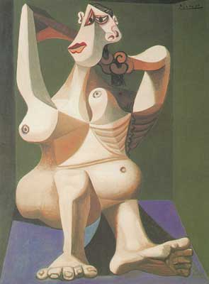 Pablo Picasso, Large Nude Doing Her Hair Fine Art Reproduction Oil Painting
