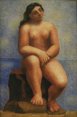 Pablo Picasso, Nude Seated on a Rock Fine Art Reproduction Oil Painting