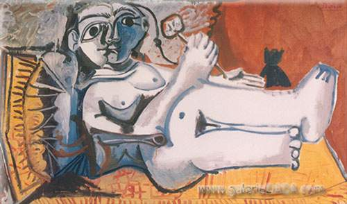 Pablo Picasso, Reclining Woman with a Cat Fine Art Reproduction Oil Painting