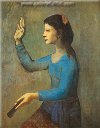 Pablo Picasso, Woman with a Fan Fine Art Reproduction Oil Painting