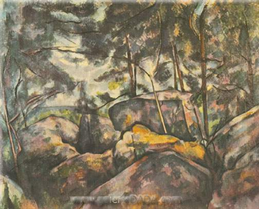 Paul Cezanne, Rocks at Fontainebleau Fine Art Reproduction Oil Painting
