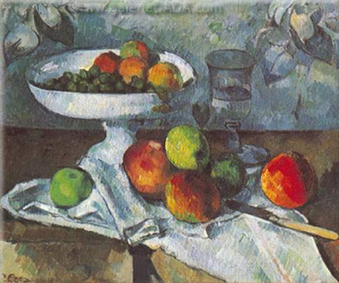 Paul Cezanne, Still-Life with Compotier Fine Art Reproduction Oil Painting