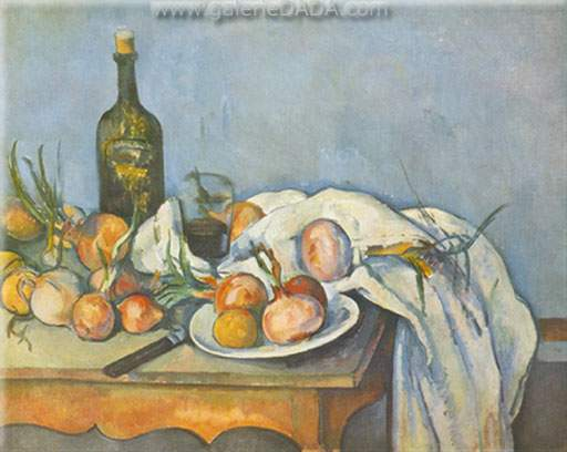 Paul Cezanne, Still-Life with Onions and Bottle Fine Art Reproduction Oil Painting