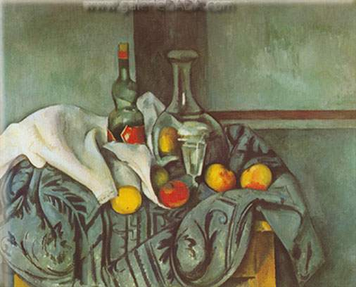 Paul Cezanne, Still-Life with Peppermint Bottle Fine Art Reproduction Oil Painting
