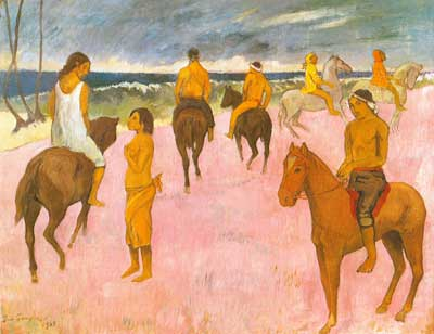 Paul Gauguin, Riders on a Beach Fine Art Reproduction Oil Painting