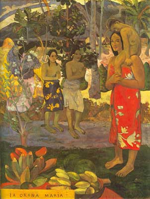 Paul Gauguin, We Greet Thee Mary (La Orana Maria) Fine Art Reproduction Oil Painting
