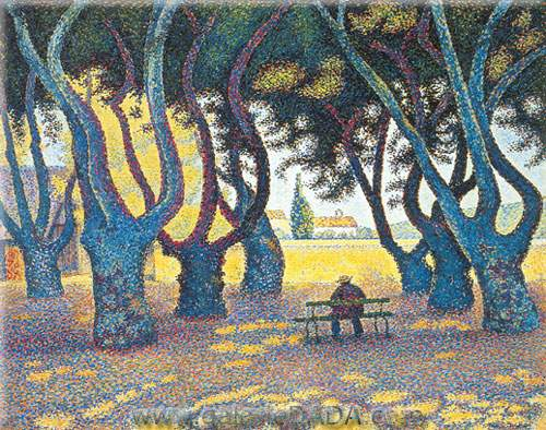 Paul Signac, Plane Trees Place des Lices Saint Tropez Fine Art Reproduction Oil Painting