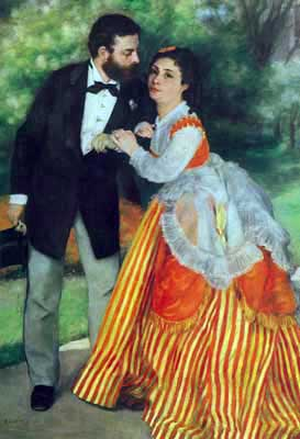 Pierre August Renoir, Alfred Sisley and his Wife Fine Art Reproduction Oil Painting