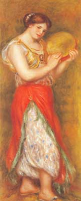 Pierre August Renoir, Female Dancer with a Tambourine Fine Art Reproduction Oil Painting