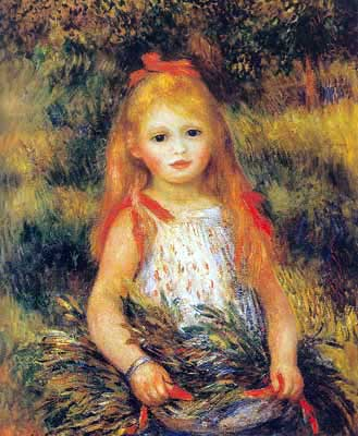Pierre August Renoir, Little Girl with a Sheaf Fine Art Reproduction Oil Painting