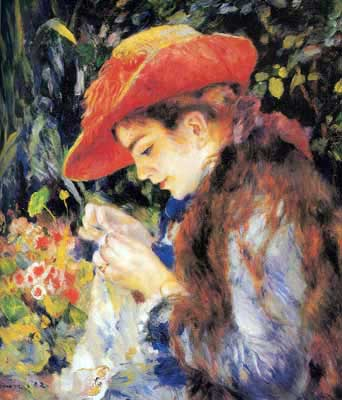 Pierre August Renoir, Miss Marie Therese Durand Ruel Sewing Fine Art Reproduction Oil Painting