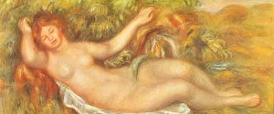 Pierre August Renoir, Reclining Nude 2 Fine Art Reproduction Oil Painting