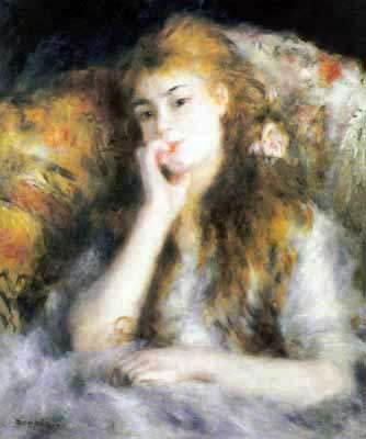 Pierre August Renoir, Thought Fine Art Reproduction Oil Painting