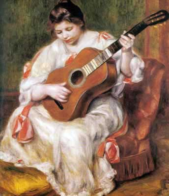 Pierre August Renoir, Woman Playing Guitar Fine Art Reproduction Oil Painting