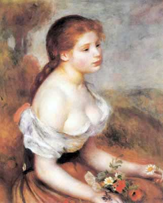 Pierre August Renoir, Young Girl with Daisies Fine Art Reproduction Oil Painting