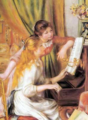 Pierre August Renoir, Young Girls at the Piano Fine Art Reproduction Oil Painting