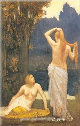 Pierre Puvis de Chavannes, The Bathers Fine Art Reproduction Oil Painting