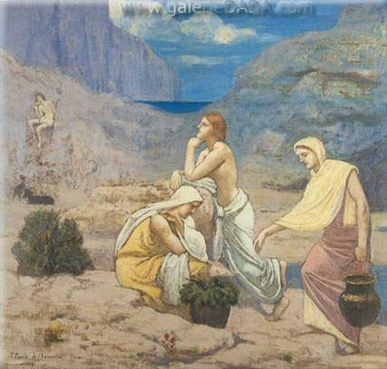 Pierre Puvis de Chavannes, The Shepherds Song Fine Art Reproduction Oil Painting