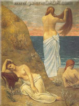 Pierre Puvis de Chavannes, Young Girls at the Seaside Fine Art Reproduction Oil Painting