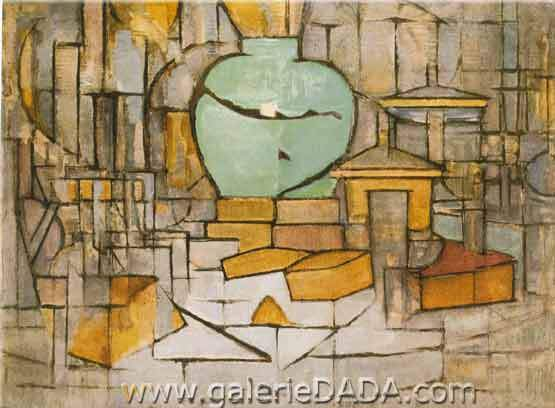 Piet Mondrian, Still Life with Gingerpot II Fine Art Reproduction Oil Painting