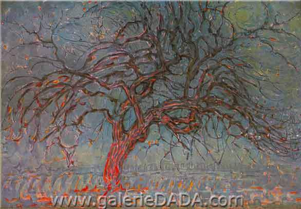 Piet Mondrian, The Red Tree Fine Art Reproduction Oil Painting