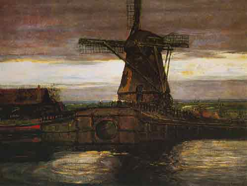 Piet Mondrian, Windmill Fine Art Reproduction Oil Painting