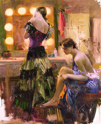 Pino Daeni, Almost Ready Fine Art Reproduction Oil Painting