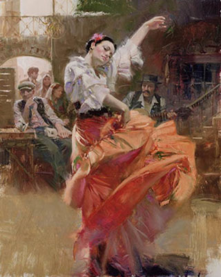 Pino Daeni, Flamenco in Red Fine Art Reproduction Oil Painting