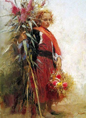 Pino Daeni, Flower Child Fine Art Reproduction Oil Painting