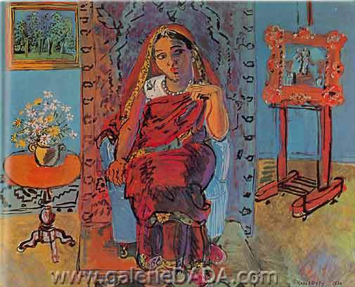 Raoul Dufy, Interior with Hindu Girl Fine Art Reproduction Oil Painting