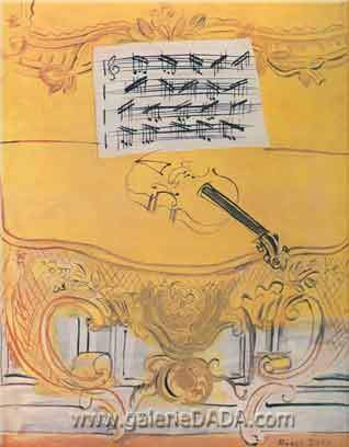 Raoul Dufy, Yellow Console with Violin Fine Art Reproduction Oil Painting