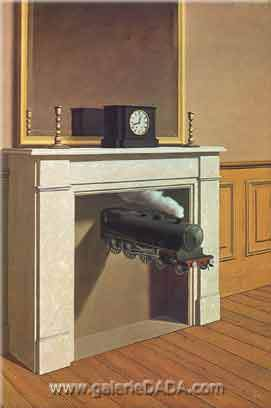 Rene Magritte, Time Transfixed Fine Art Reproduction Oil Painting