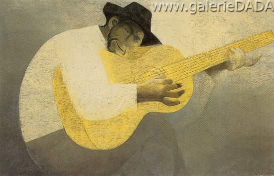 Ricardo Martinez, Hombre con Guitarra Fine Art Reproduction Oil Painting