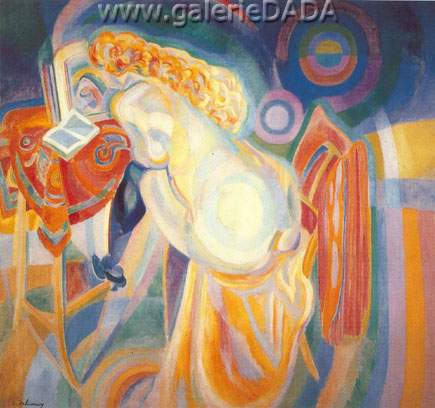Robert & Sonia Delaunay, Nude Woman Reading Fine Art Reproduction Oil Painting