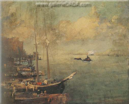 Robert Henri, Hudson River Dock Fine Art Reproduction Oil Painting