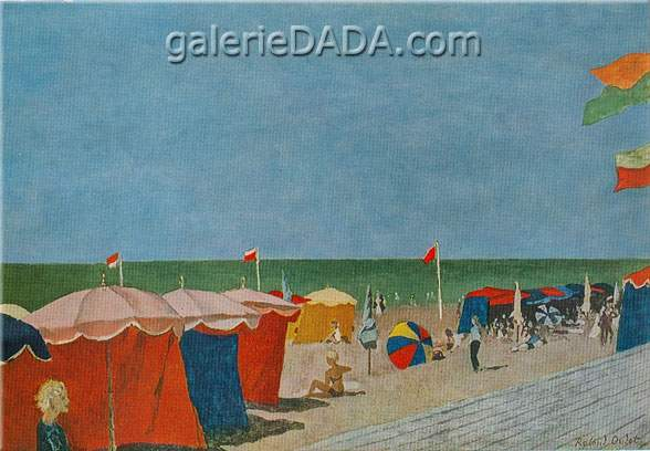 Roland Oudot, Tents at Deauville Fine Art Reproduction Oil Painting