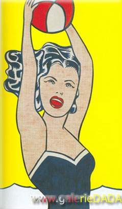 Roy Lichtenstein, Girl with a Ball Fine Art Reproduction Oil Painting