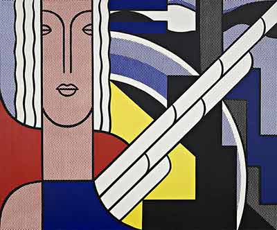 Roy Lichtenstein, Modern Painting with Classic Head Fine Art Reproduction Oil Painting