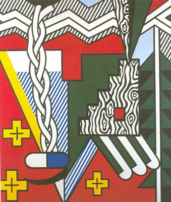Roy Lichtenstein, Two Figures with Teepee Fine Art Reproduction Oil Painting