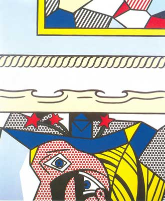 Roy Lichtenstein, Two Paintings with Dado Fine Art Reproduction Oil Painting