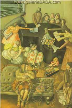 Stanley Spencer, At the Piano Fine Art Reproduction Oil Painting
