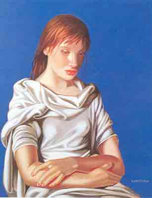 Tamara de Lempicka, Lady in Blue Fine Art Reproduction Oil Painting