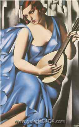 Tamara de Lempicka, Lady in Blue with Guitar Fine Art Reproduction Oil Painting