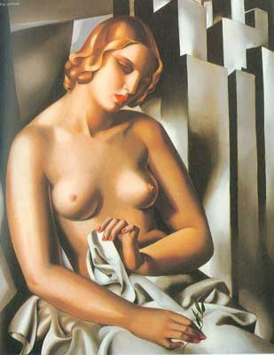 Tamara de Lempicka, Nude with Buildings Fine Art Reproduction Oil Painting