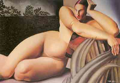 Tamara de Lempicka, Reclining Nude Fine Art Reproduction Oil Painting