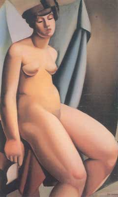 Tamara de Lempicka, Seated Nude Fine Art Reproduction Oil Painting
