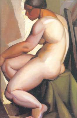 Tamara de Lempicka, Seated Nude in Profile Fine Art Reproduction Oil Painting
