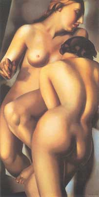 Tamara de Lempicka, The Two Girlfriends Fine Art Reproduction Oil Painting